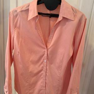 Ann Taylor coral button down blouse Sz 14 cotton